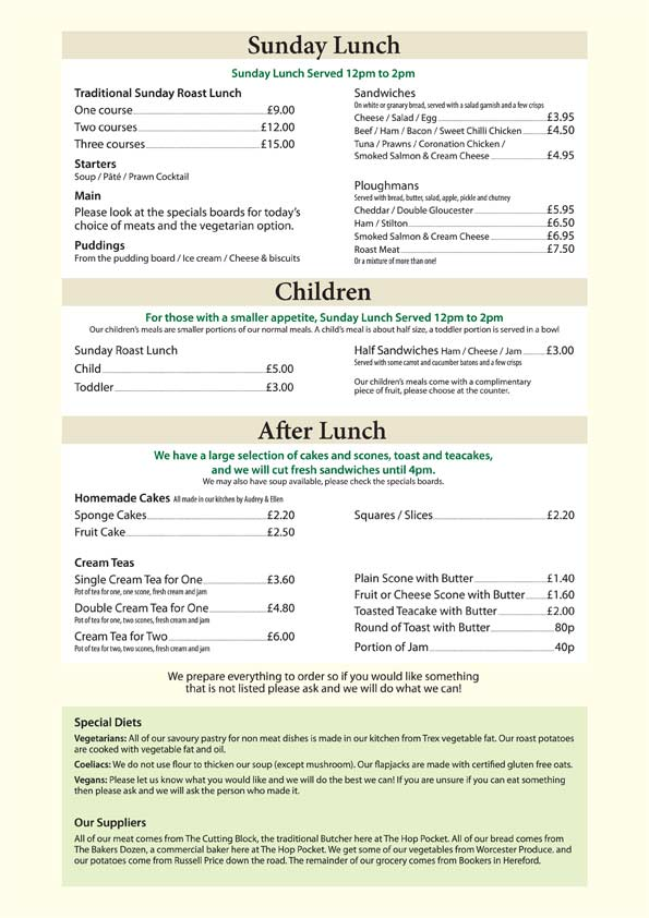 Hop Pocket Lunch Menu